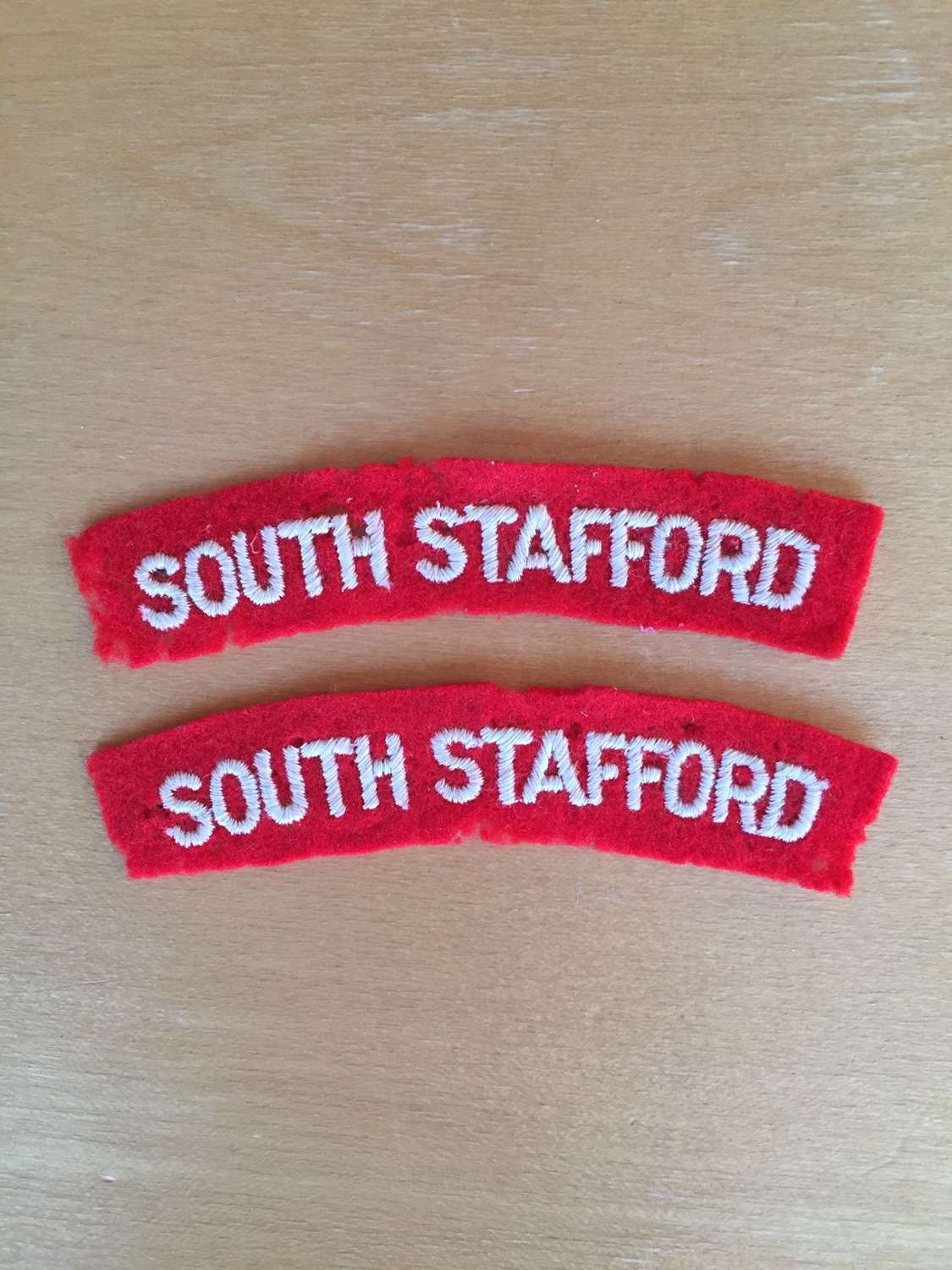 WW2 pair of embroidered South Stafford shoulder titles
