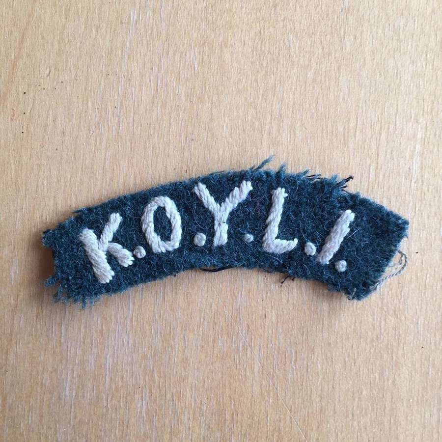 WW2 locally made KOYLI shoulder title