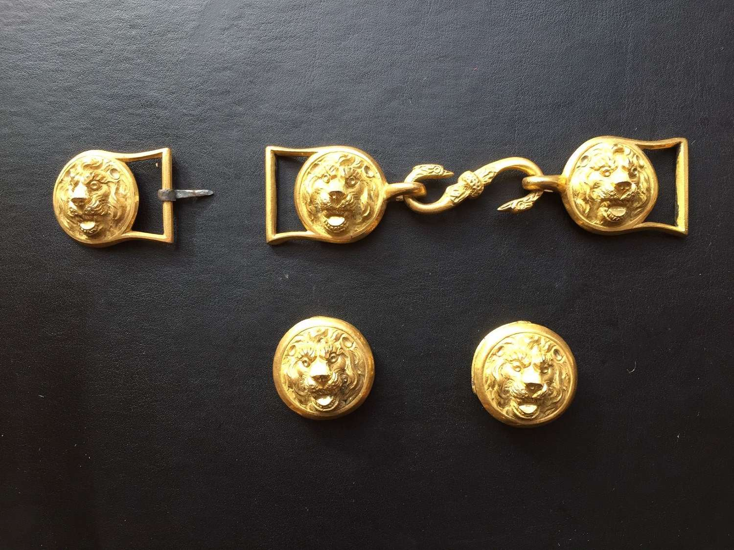 A set of early 19th Century gilt mounts for a Royal Navy Officers belt